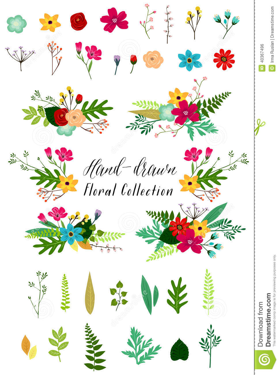 Clipart flowers and leaves clipart royalty free download Vector Vintage Flowers And Leaves Clip Art Stock Vector - Image ... clipart royalty free download