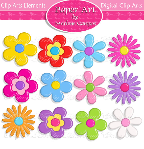 Clipart flowers and leaves clipart black and white download 3d Flowers Digital Clipart clipart black and white download