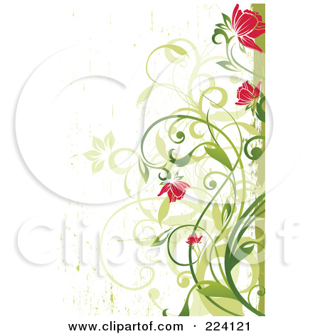 Clipart flowers and vines clip art free download Royalty-Free (RF) Clipart Illustration of Pink Flowers And Green ... clip art free download