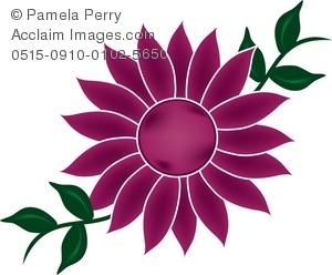 Clipart flowers and vines png freeuse stock Clip Art Illustration of a Big Pink Flower With Vines - Acclaim ... png freeuse stock