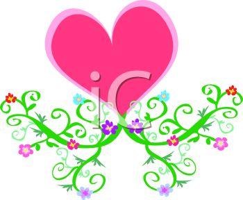Clipart flowers and vines banner freeuse Pink Heart with Vines and Flowers - Royalty Free Clip Art Illustration banner freeuse