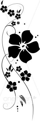 Clipart flowers and vines banner transparent library Black and White Border Designs | Black Flower Vine clip art ... banner transparent library