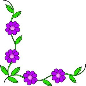 Clipart flowers and vines image black and white Vine Clipart Image - Purple flowers on a vine making up a page ... image black and white