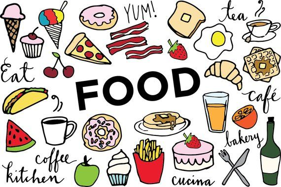 Clipart images food banner library download Food Clip Art - Hand drawn clip art, food collage sheet, desserts ... banner library download