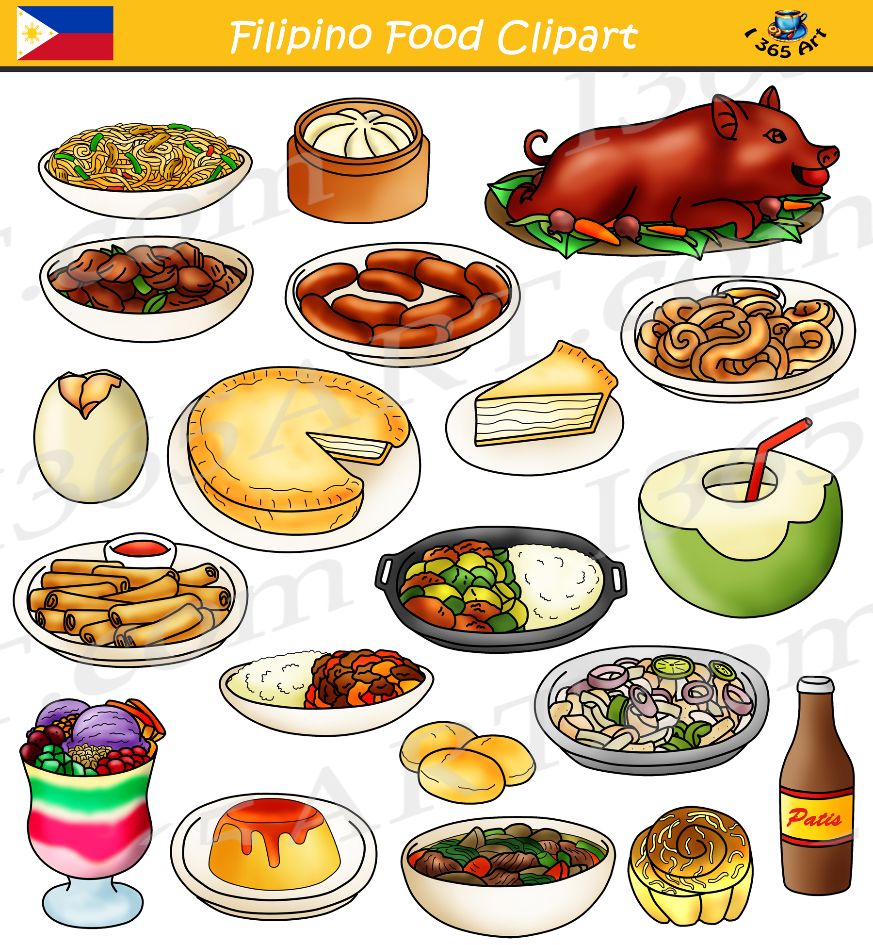 Clipart images food jpg freeuse library Filipino Food Clipart Bundle - Food From the Philippines jpg freeuse library
