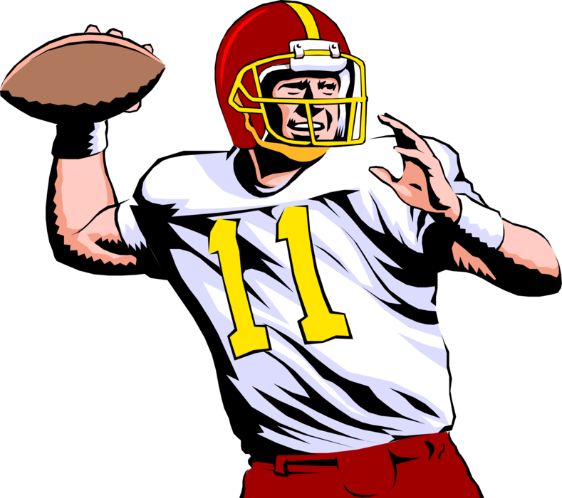 Football player quarterback clipart clip black and white Quarterback Throws Pass in Football Game - Vector Image clip black and white