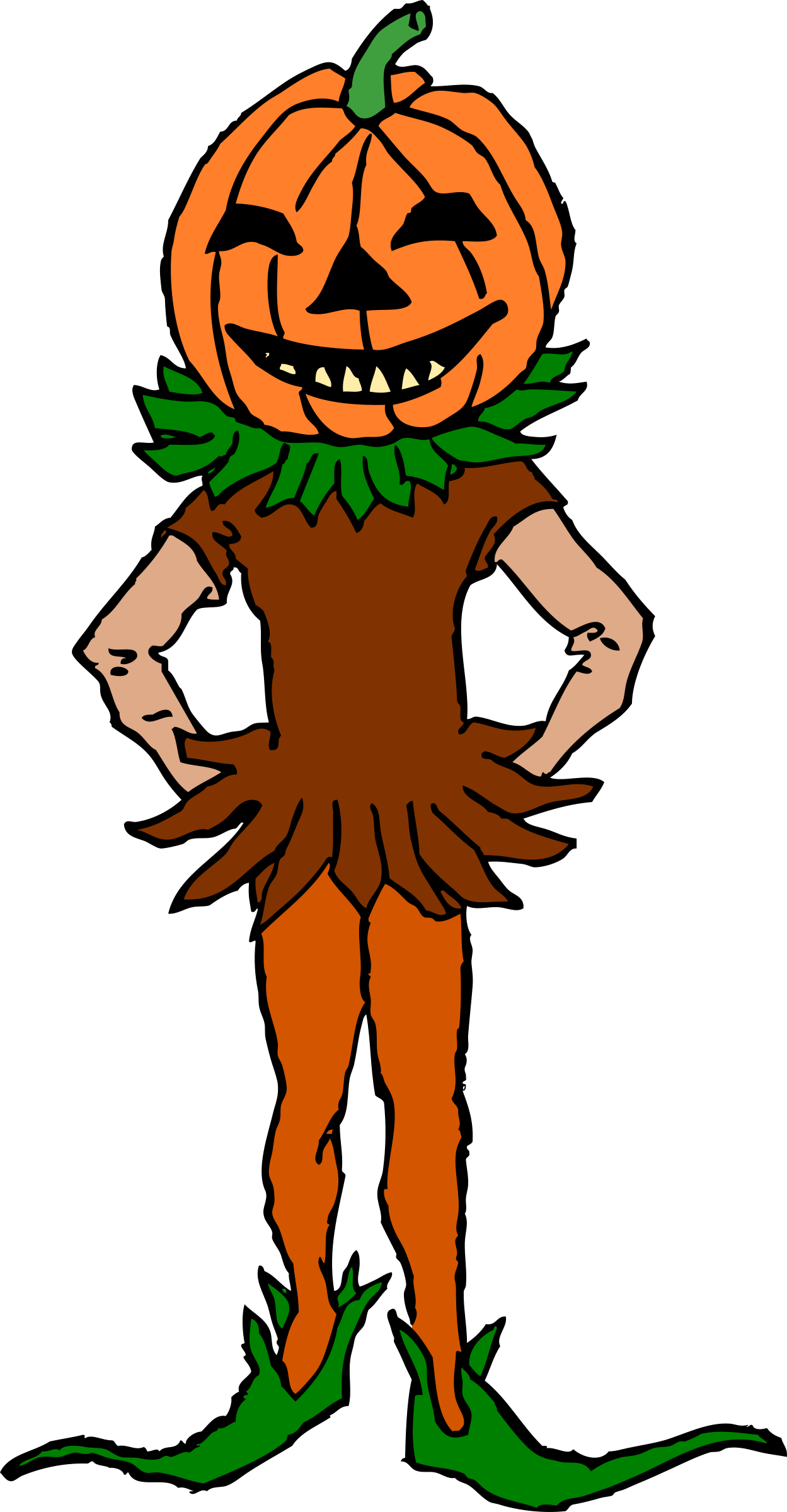 Pumpkin color clipart graphic free download Clipart - Pumpkin Boy Color Version graphic free download