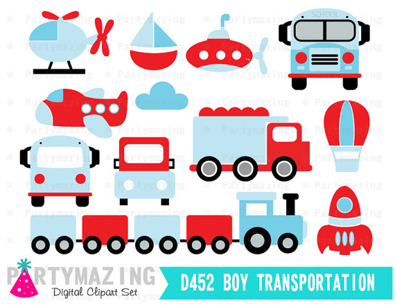 Clipart for business use vector library library Transportation Clipart for Boys (Personal & Small Business Use ... vector library library
