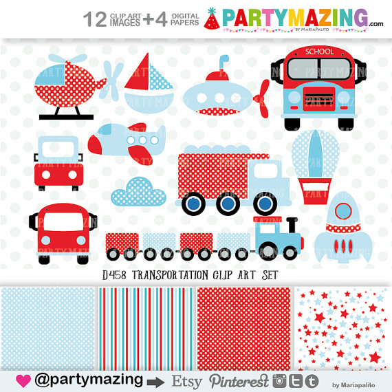 Clipart for business use jpg free stock Transportation Clipart for Boys (Personal & Small Business Use ... jpg free stock