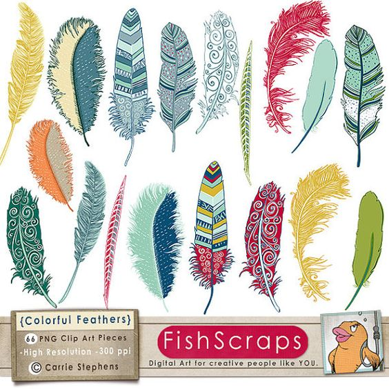 Clipart for business use clip transparent 75% SALE Colorful Feather Clip Art, Tribal Bird Feathers, Feather ... clip transparent