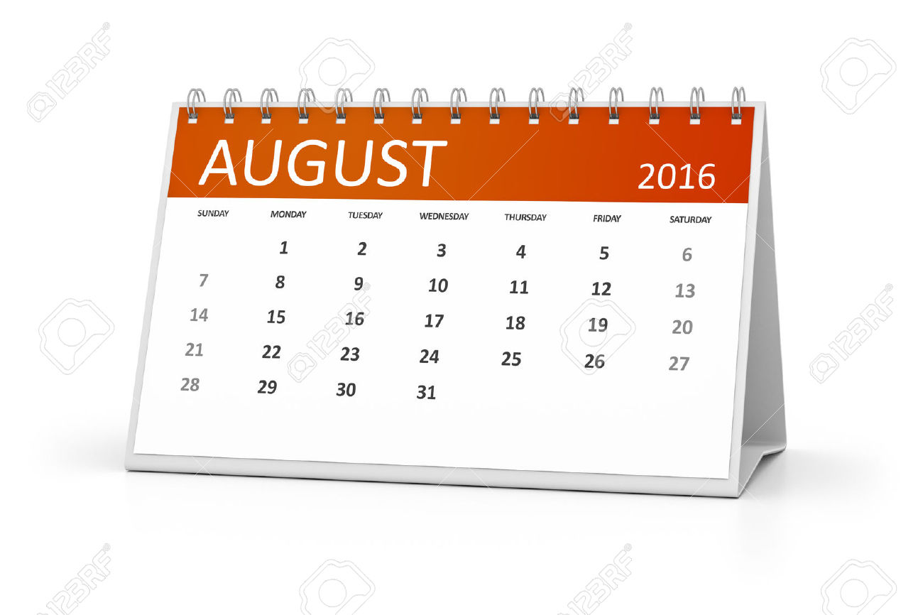 Clipart for calendar for august 2016 banner library stock An Image Of A Table Calendar For Your Events 2016 August Stock ... banner library stock