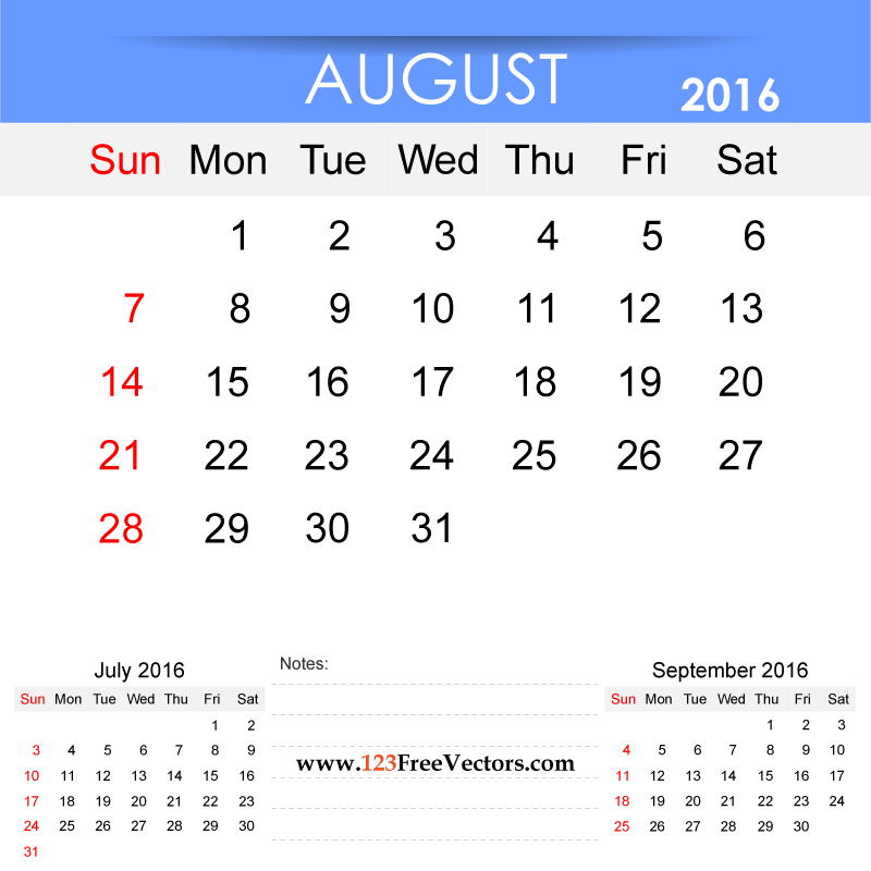 Clipart for calendar for august 2016 clip art black and white library August 2016 Calendar Printable by 123freevectors on DeviantArt clip art black and white library