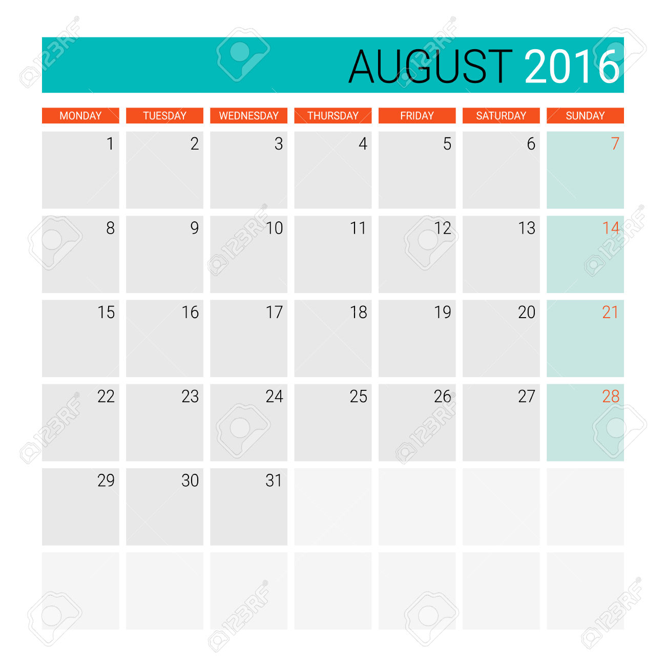 Clipart for calendar for august 2016 clipart black and white August 2016 Calendar (or Desk Planner) Royalty Free Cliparts ... clipart black and white