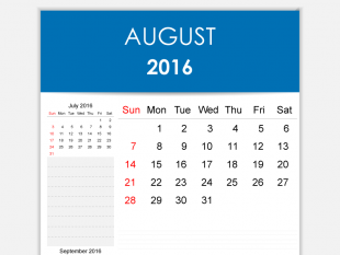 Clipart for calendar for august 2016 png royalty free Free Vector 2016 Calendar August | free vectors | UI Download png royalty free