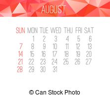 Clipart for calendar for august 2016 vector black and white download Vector Illustration of August 2016 monthly calendar - August 2016 ... vector black and white download