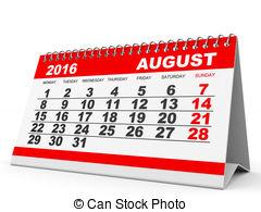 Clipart for calendar for august 2016