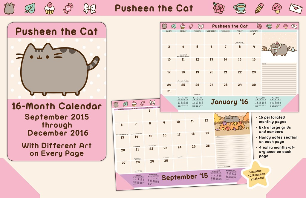Clipart for calendar front for 2016 picture black and white library Pusheen the Cat 2015-2016 16-Month Desk Pad Calendar picture black and white library