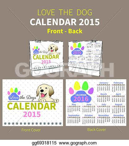Clipart for calendar front for 2016 png free stock EPS Illustration - Love the dog calendar 2015 cover. Vector ... png free stock
