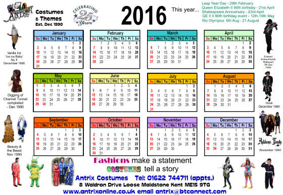 Clipart for calendar front for 2016 clip transparent download Antrix Costumes Calendar clip transparent download