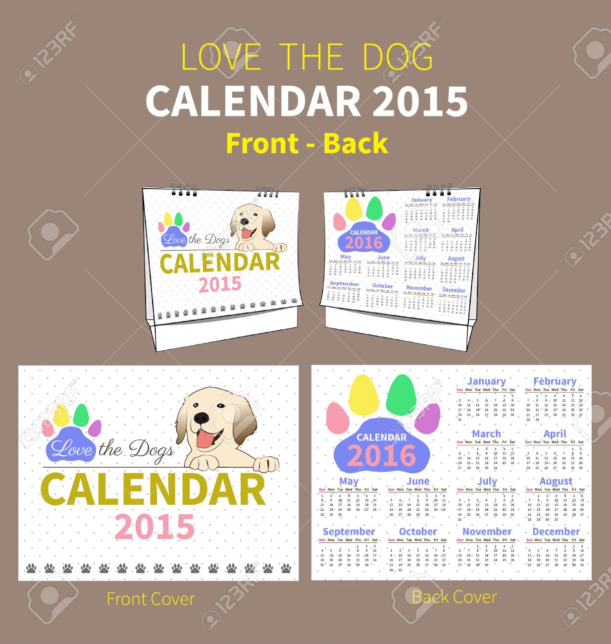 Clipart for calendar front for 2016 png transparent library Calendar 2015 To 2016 Front And Back Cover On Dot And White ... png transparent library