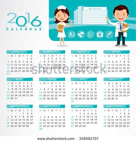 Clipart for calendar front for 2016 clip art free library 2016 Medical Calendar Doctor Nurse Gesturing Stock Vector ... clip art free library