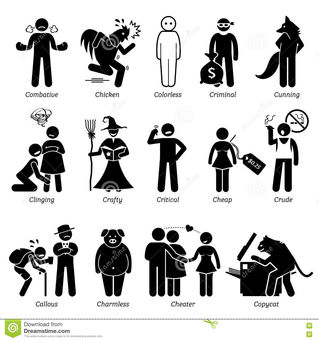 Clipart for character traits vector royalty free Negative Personalities Character Traits Clipart Stock Vector ... vector royalty free