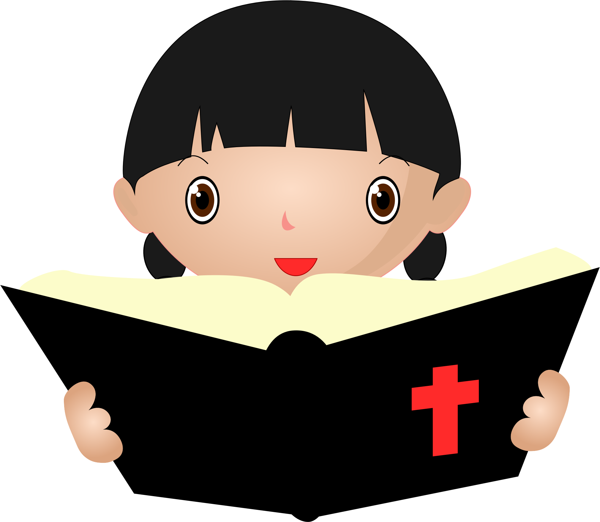 Clipart for christian character svg freeuse stock Clipart - Girl Studying Bible svg freeuse stock