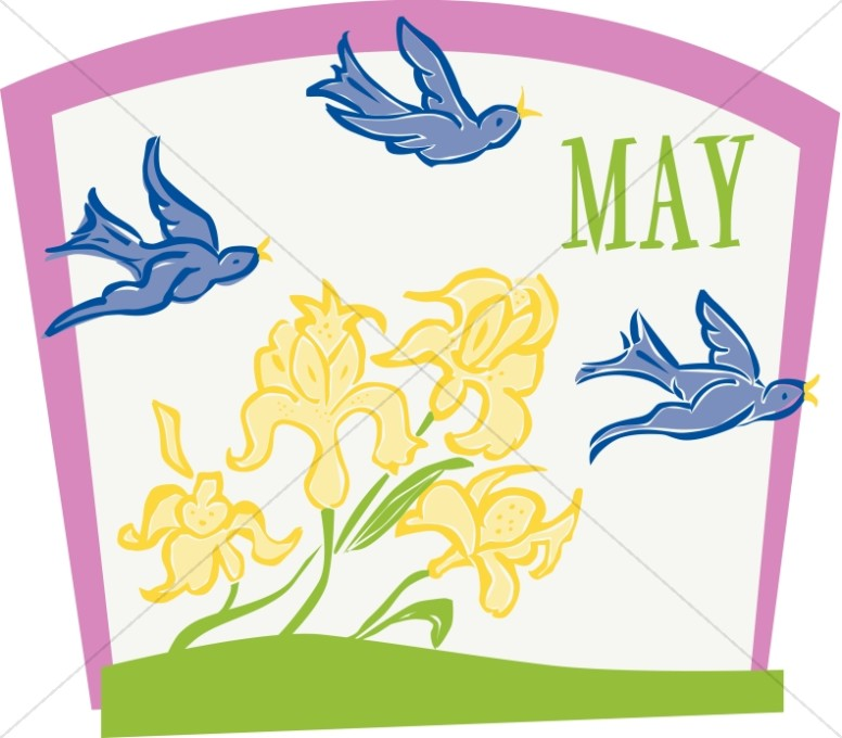 Clipart for christian the month of may clip royalty free library Flying Birds and Flowers in May | Christian Calendar Clipart clip royalty free library