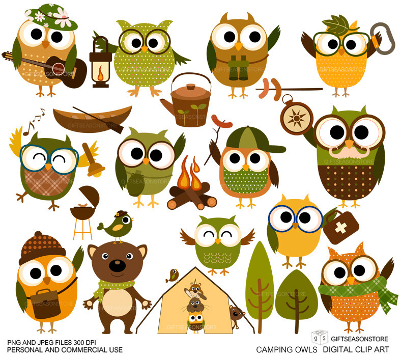 Clipart for commercial use. Camping tent etsy owl