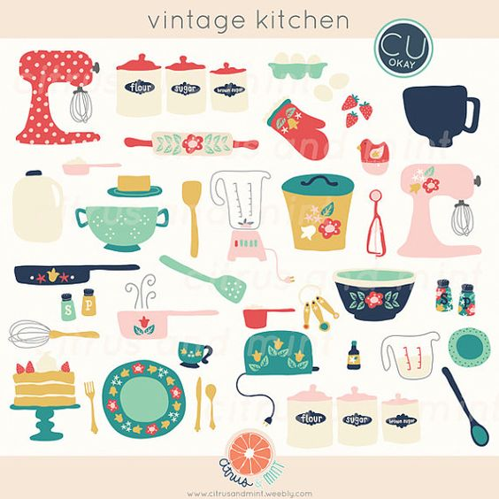 Vintage kitchen clip art. Clipart for commercial use