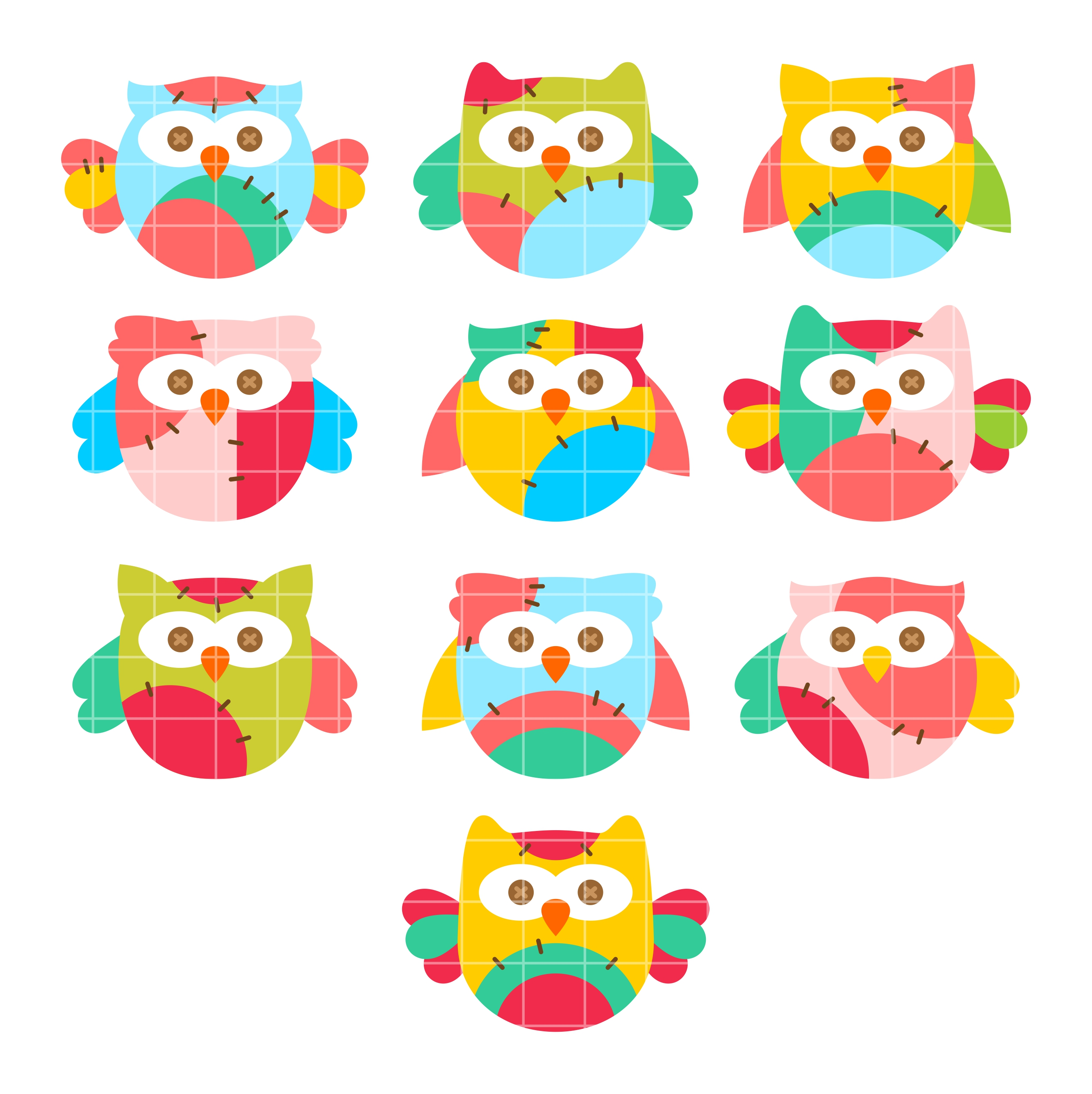 Clipart for digitizing image royalty free library Colorful Owls Set Semi Exclusive Clip Art Set For Digitizing and More image royalty free library