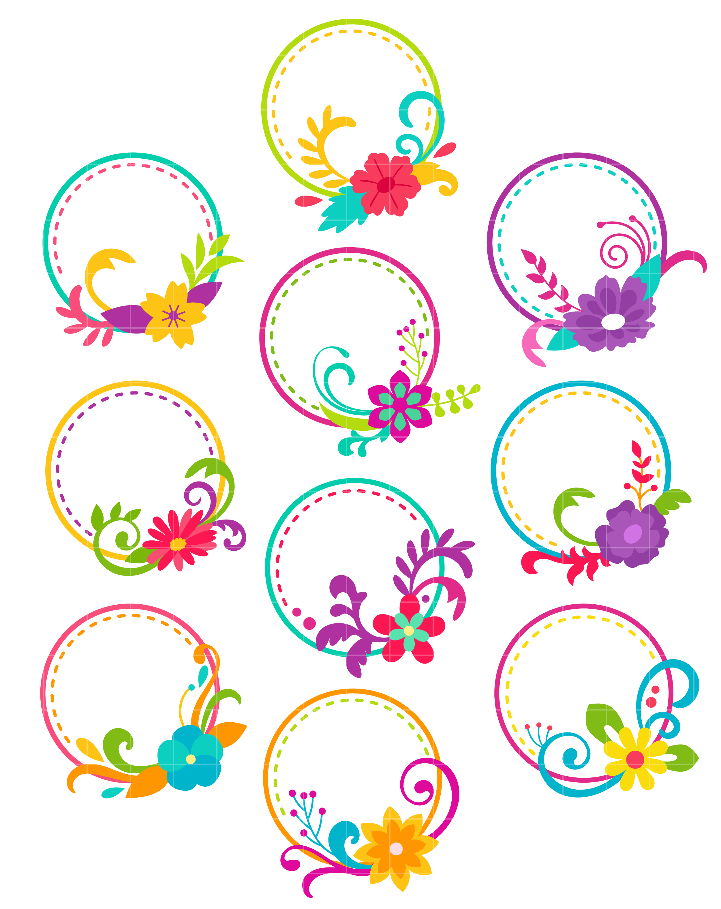 Clipart for digitizing image black and white library Floral Hoops Arts Set Semi Exclusive Clip Art Set For Digitizing and More image black and white library