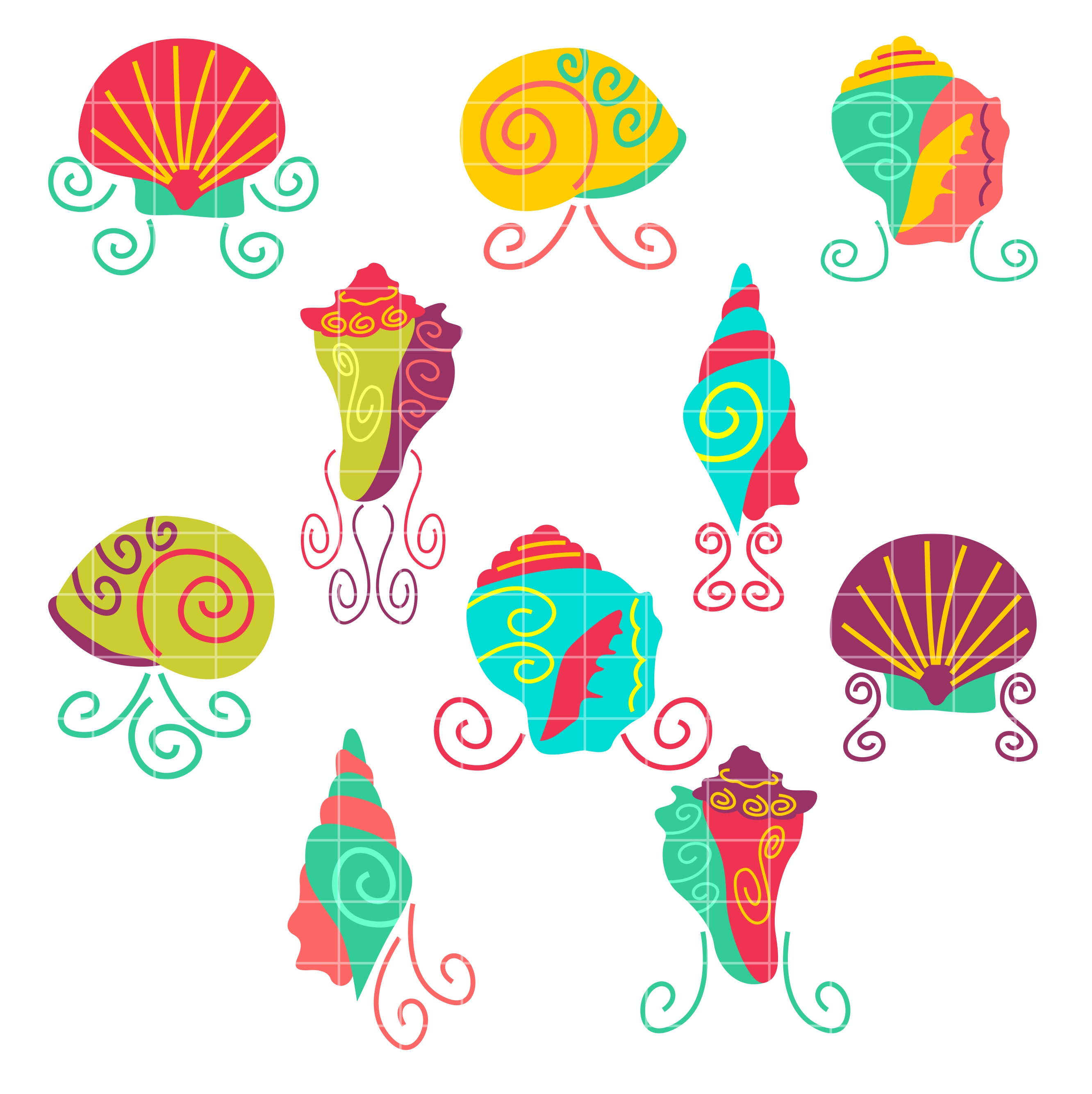 Clipart for digitizing black and white library Sea Shell Set Semi Exclusive Clip Art Set For Digitizing and More black and white library