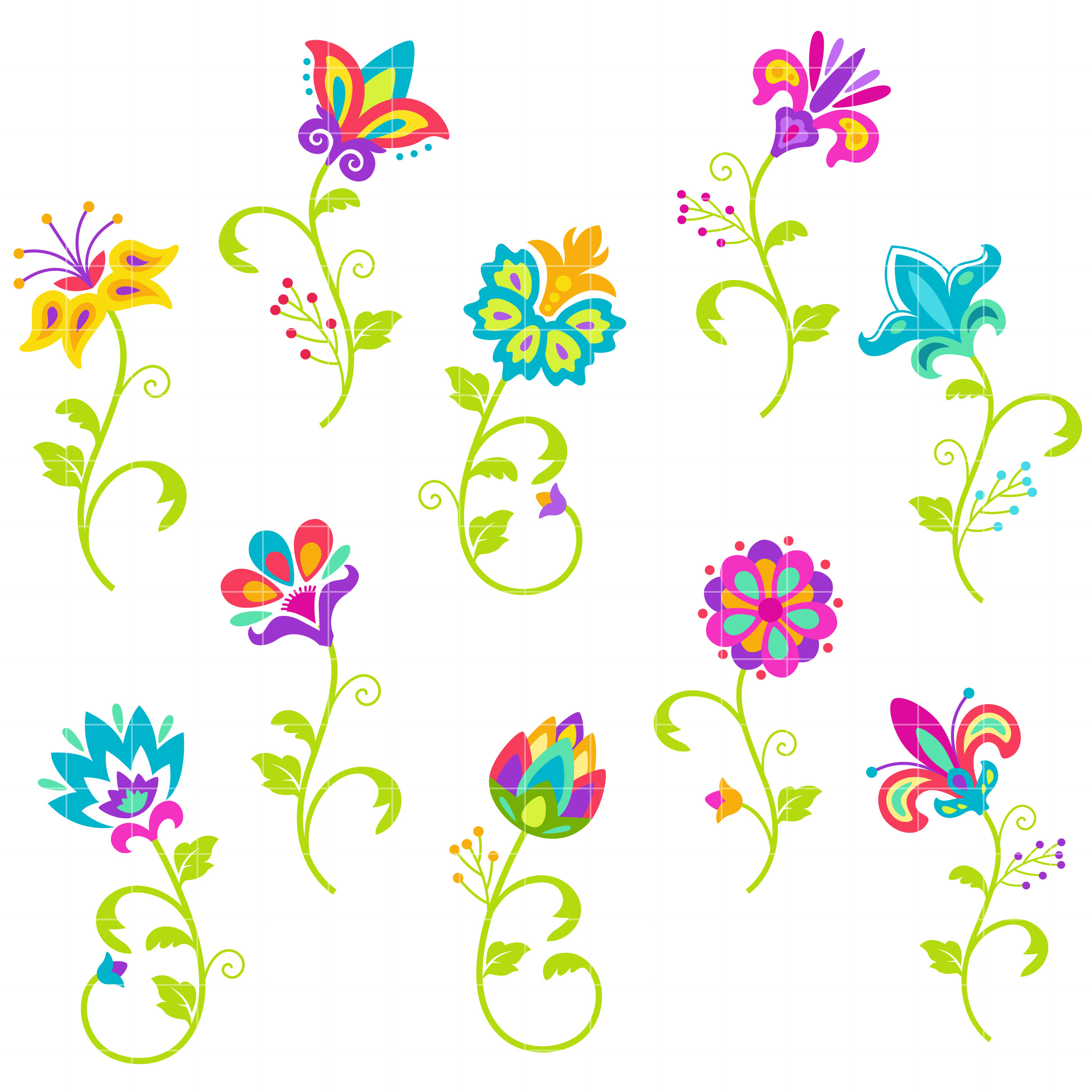 Clipart for digitizing png free Bright Flowers Semi Exclusive Clip Art Set For Digitizing and More png free
