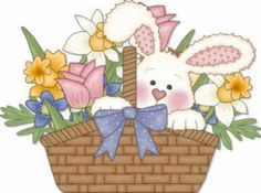 Clipart for easter basket image library Clipart easter basket bunny - ClipartFest image library