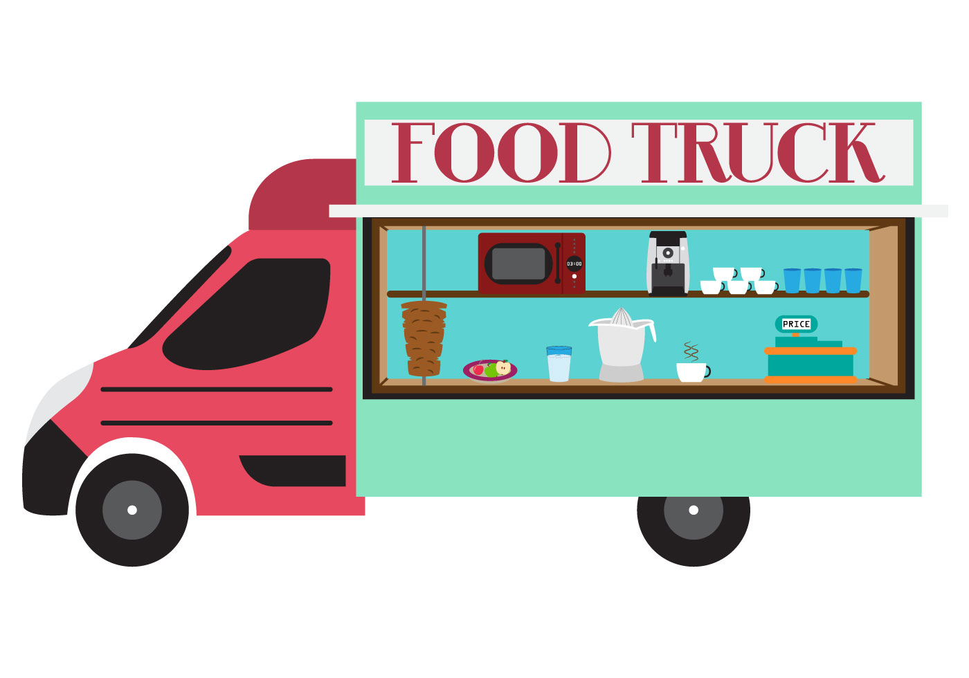 Clipart for food truck vector black and white Free Truck Vector Art - ClipArt Best vector black and white