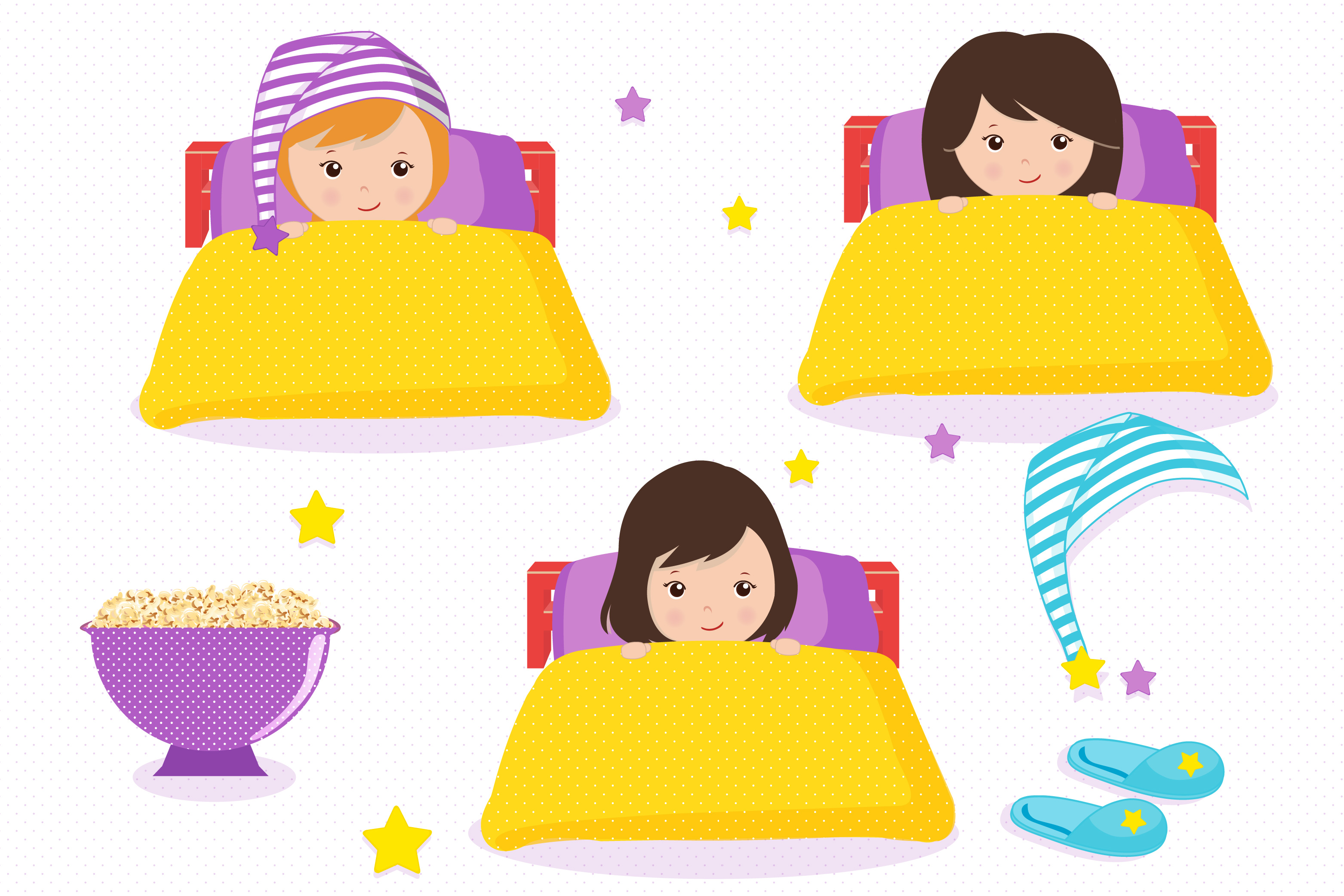 Clipart for girls library Sleepover graphics, Little girls clipart set library