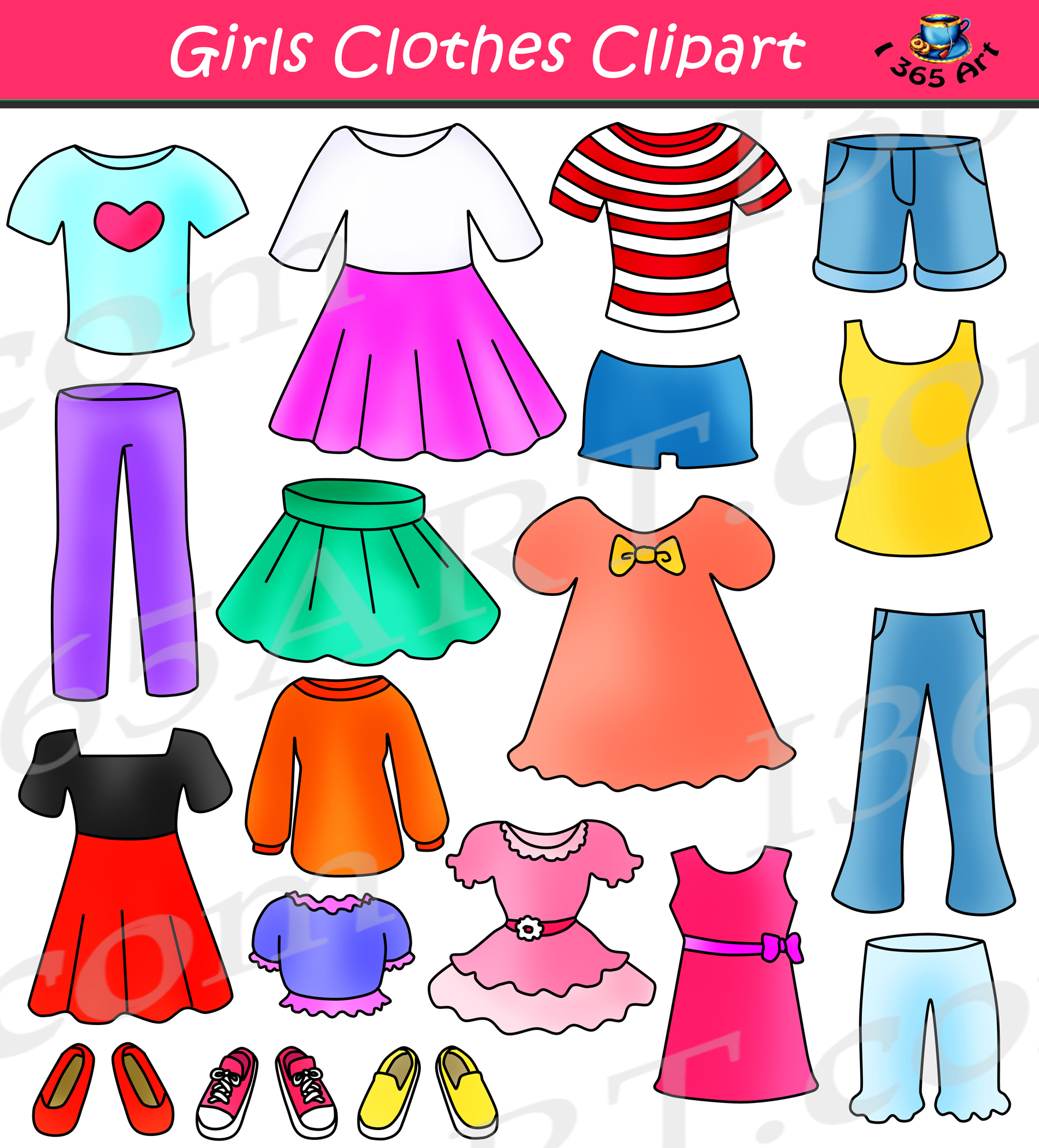 Girls dress clipart clip black and white library Girls Clothes Clipart Set Dress Up Clip Art clip black and white library