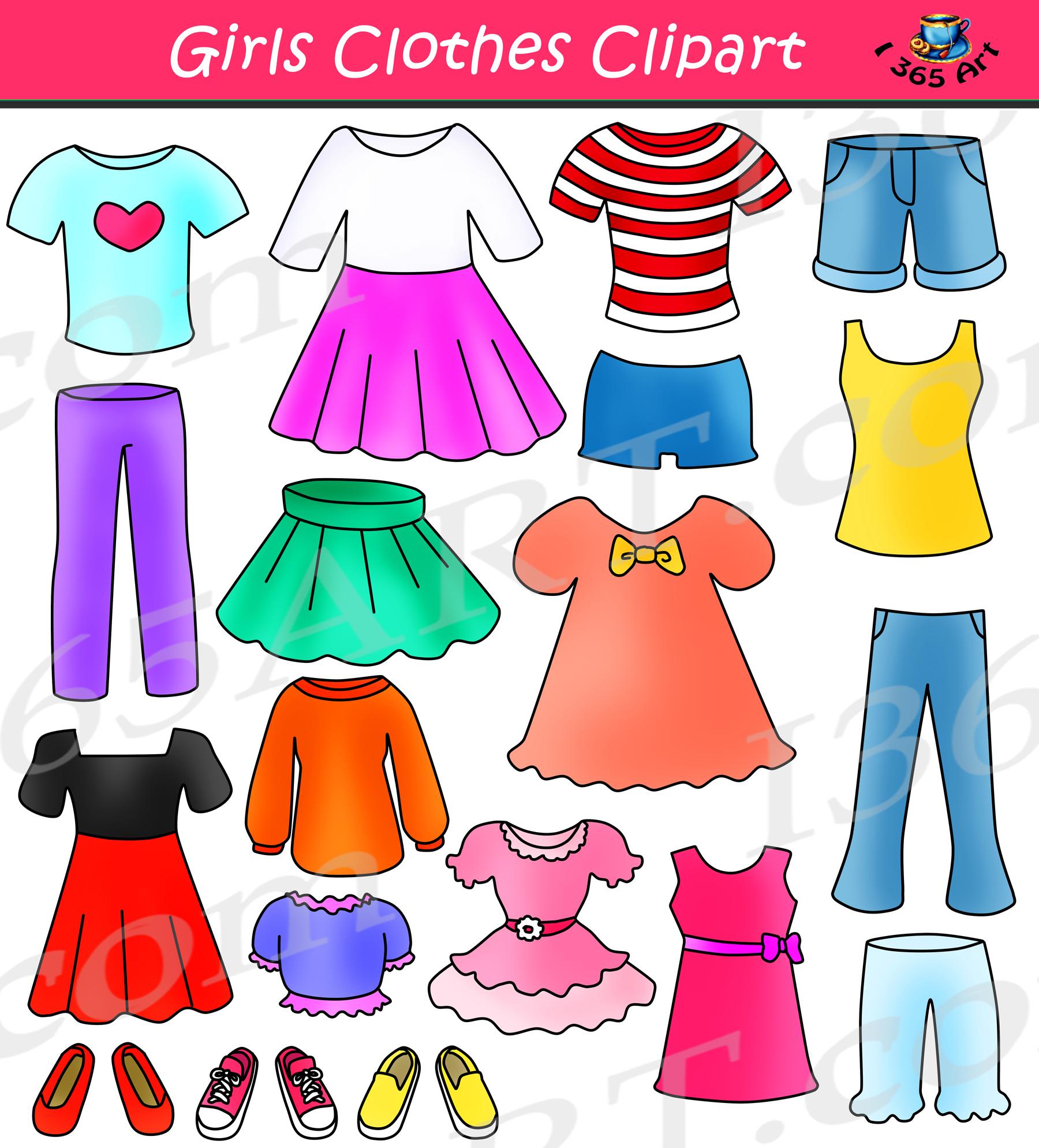 Girls clipart images clip transparent Girls Clothes Clipart Set Dress Up Clip Art clip transparent