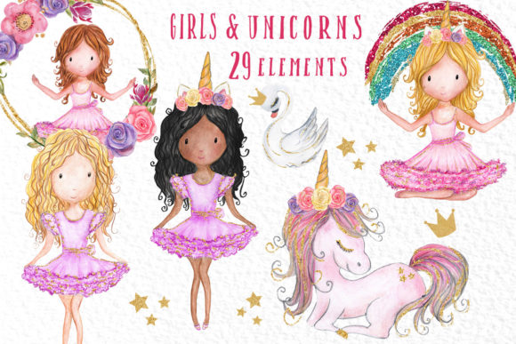Clipart for girls svg freeuse library Rainbow Unicorn Clipart Girls Clipart svg freeuse library