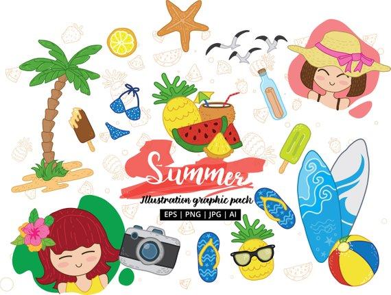 Clipart for girls weekend trip on a beach jpg free stock Girls clip art, Summer sticker Bundle, tropical beach girls clipart ... jpg free stock