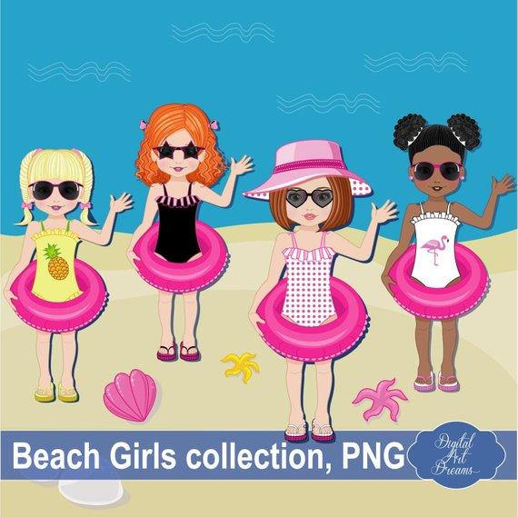 Clipart for girls weekend trip on a beach jpg transparent download Beach Clip Art, Cute Girls Clipart, Characters Graphics, Little Girl ... jpg transparent download