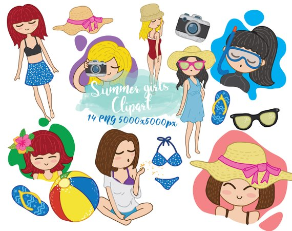 Clipart for girls weekend trip on a beach clipart freeuse library Girls clip art, Summer girls sticker, tropical beach girls clip art ... clipart freeuse library