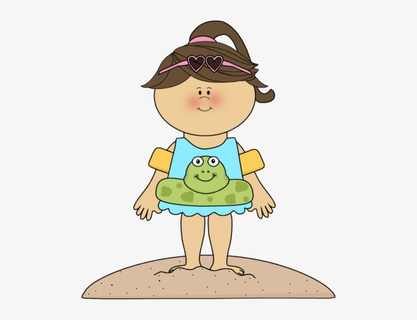 Girl beach clipart royalty free download Download Free png Little Girl Clipart Summer Girl At The Beach ... royalty free download