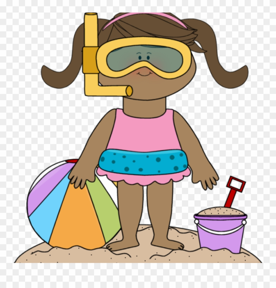 Girl beach clipart clip black and white download Kids Summer Clipart Summer Kids Clip Art Summer Kids - Girl At Beach ... clip black and white download
