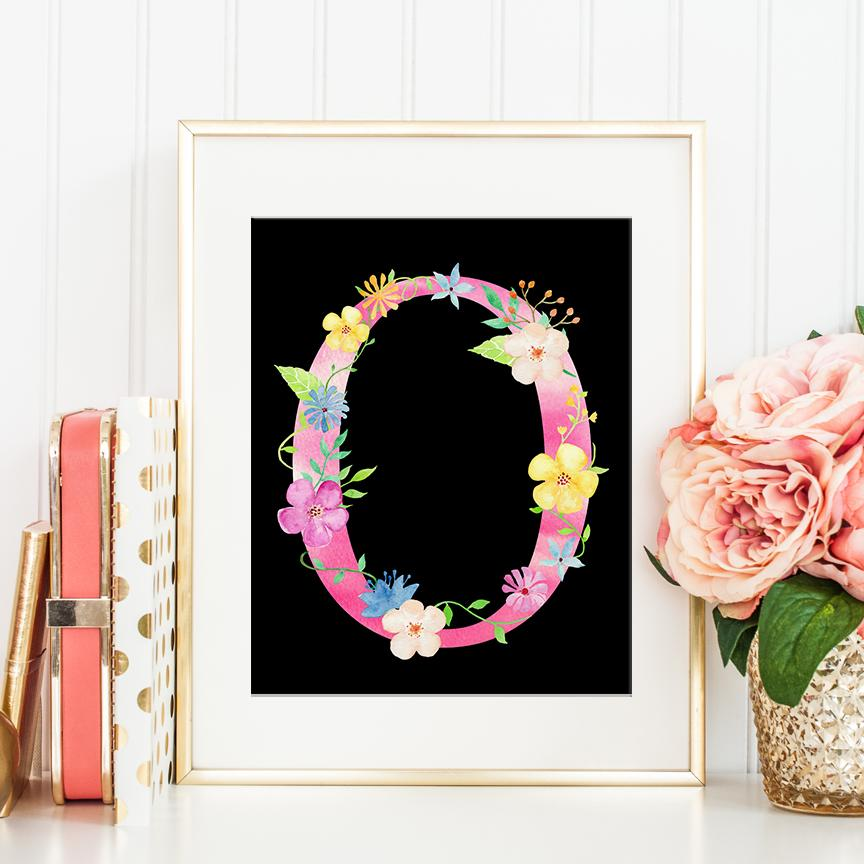 Clipart for images with letter o in flowers jpg black and white Watercolor Pink Floral Letter O, Alphabet O, Initial O, Art Print Digital  Download jpg black and white