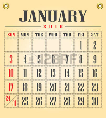 Clipart for january 2016 calendar graphic freeuse stock 0 2016 Stock Vector Illustration And Royalty Free 2016 Clipart graphic freeuse stock