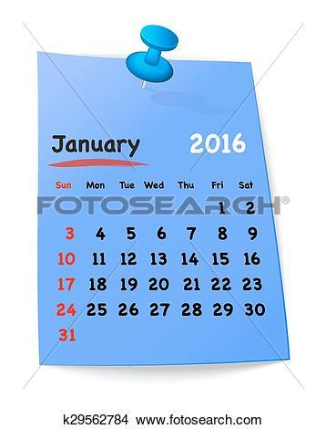 Clipart for january 2016 calendar jpg transparent download Clipart of Calendar for january 2016 on blue sticky note k29562784 ... jpg transparent download