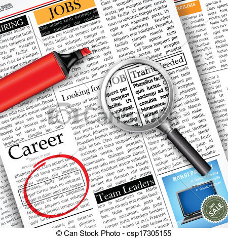 Clipart for job search. Vector of in newspaper
