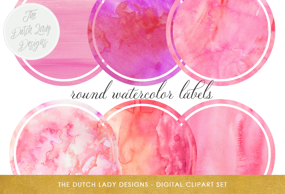 Clipart for labels jpg transparent Circle Shaped Label Clipart Set - Round Labels in Pink Watercolor Tones jpg transparent
